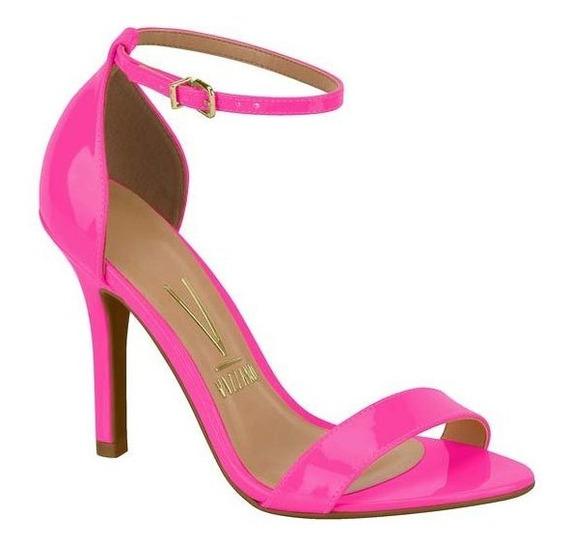 Sandália Salto Alto Fino Rosa Neon Verniz Vizzano 6249152