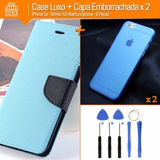 Case Luxo iPhone 5 E 5s + 2 Capas Emborrachadas + Brinde