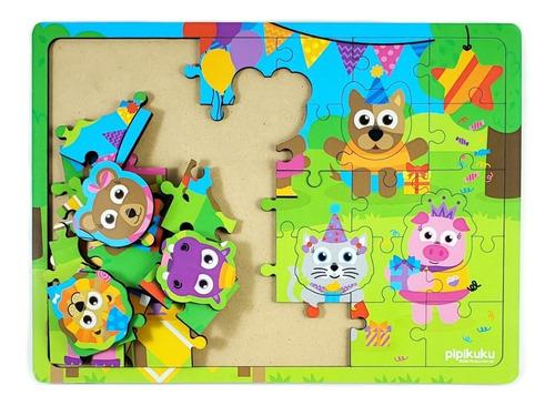 Imagen 1 de 2 de Rompecabezas 36 Piezas De Madera Cumpleaños Pipikuku