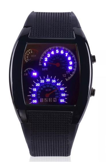 Relógio Preto Em Led Azul Pulseira De Silicone Casual