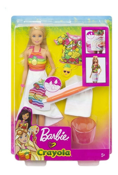 Barbie Crayola Boneca Fruta Surpresa Gbk18 Pintando A Roupa