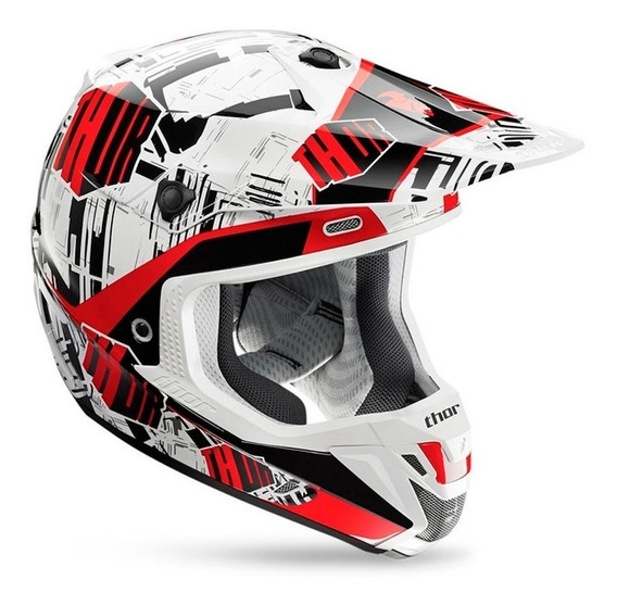 Capacete Motocross Trilha Thor Verge Block Vermelho