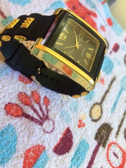 Relógio Feminino Dourado Pulseira De Borracha Luxo Original