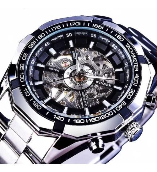 Relógio Automático Masculino Original Winner Skeleton