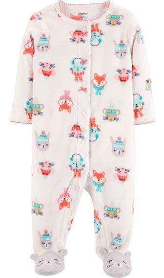 Carters Pijama Polar Con Botones Bebé Nenas Navidad