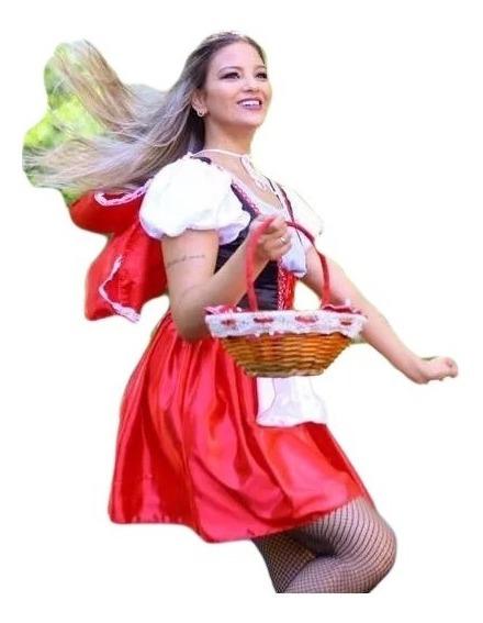 Vestido Fantasia Chapeuzinho Vermelho Com Capuz E Avental