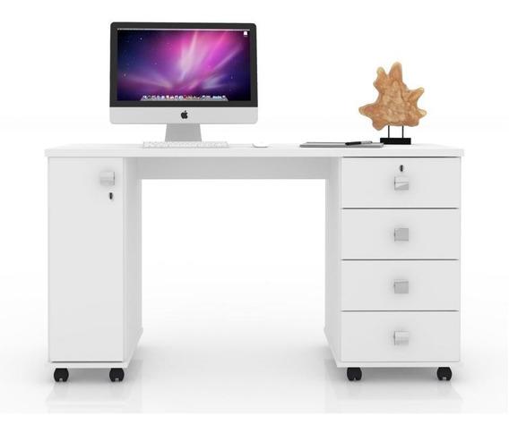 Office Smart Branco - 04 Gavetas Uma Porta E Rodízios