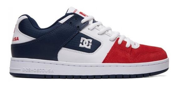 Zapatilla Dc Manteca Tricolor Blanco Rojo Azul