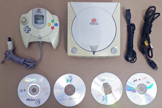 Console Sega Dreamcast Completo Controle 5 Jogos Cabos Game