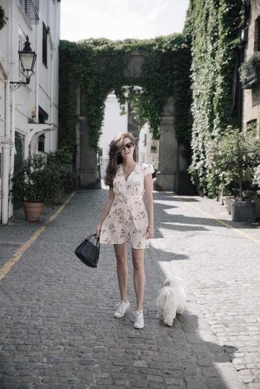 Vestido Con Estampado H&m. Mediano