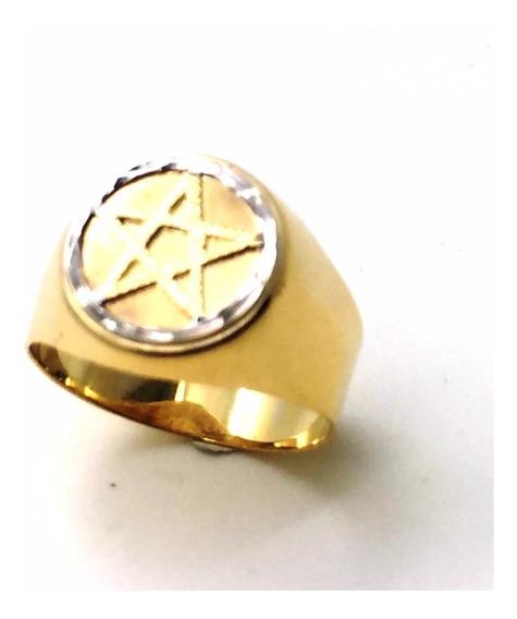 Anel Estrela Cinco Pontas Pentagrama Maçonaria Ouro 18k