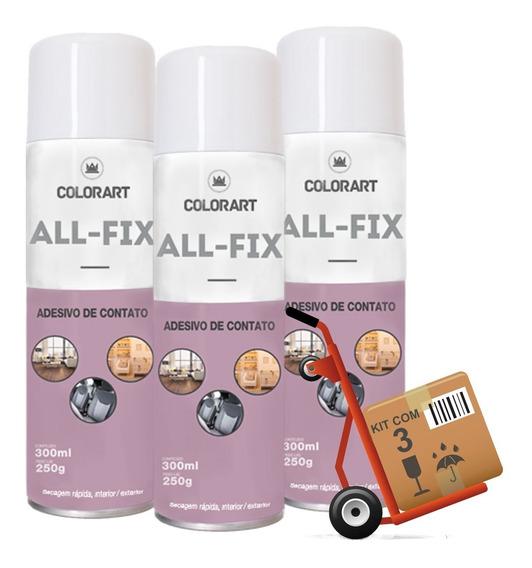 3 Cola Adesivo De Contato Spray Colorart All-fix 300ml Forte
