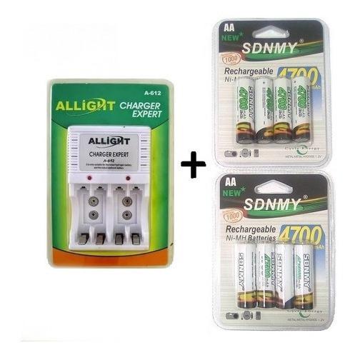 Kit Carregador De Pilha Bateria + 8 Pilhas Aa Recarregáveis