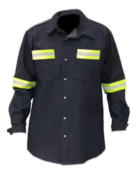Camisa Mezclilla 100% Algodon Con Reflejante