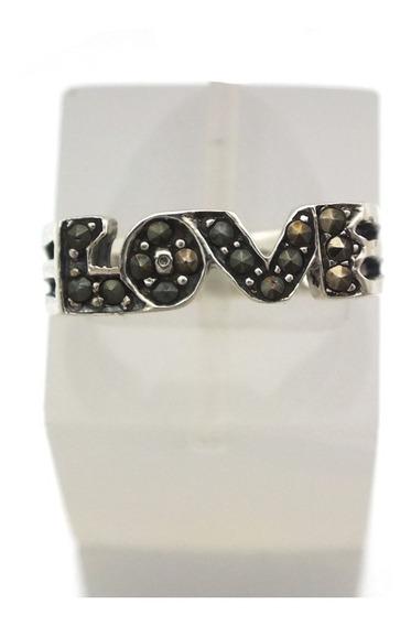 Anel Escrito Love Cravejado Marcassita Prata 925 J17008