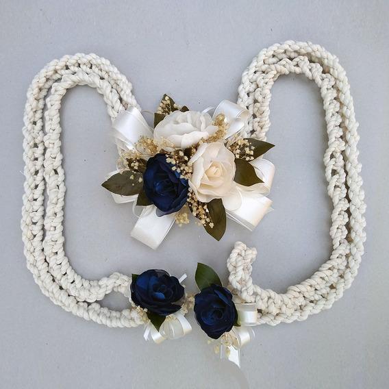 Lazo De Boda Cordón Trenzado Gardenias Azul