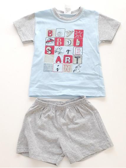 Conjunto Infantil Masculino Camiseta E Shorts Solinho