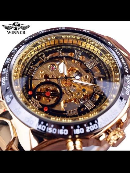 Relógio Dourado Mecânico Esporte