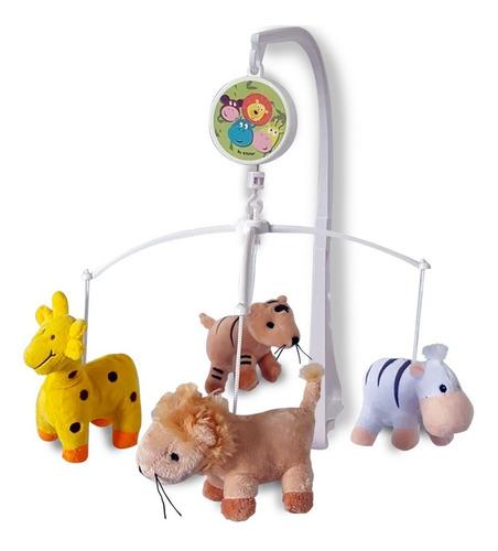 Móbile Em Pelúcia Giratório Musical De Bebê Safari