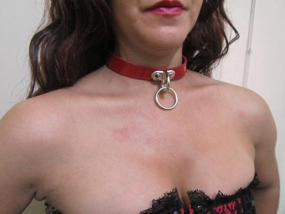 Collar Aro Goth Choker Argolla Rojo