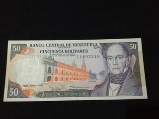 Billete 50 Bolivares 1977 Sin Circular Serial L