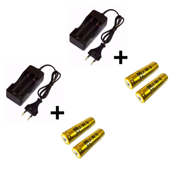 2 Carregador + 4 Bateria Jws Recarregável 18650 3.7v 5200mah