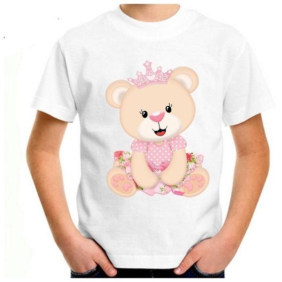 Camiseta Blusa Feminino Ursinha Realeza