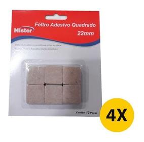 Kit 4 Feltro Adesivo Pé De Cadeiras Quadrado 2cm C/12 Pç
