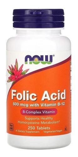 Ácido Fólico 800mcg Com Vitamina B-12, 250 Comprimidos