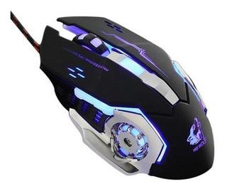 Mouse Gamer Wolf V6 Silencioso 3200 Dpi