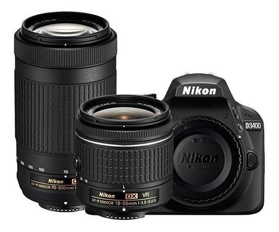 Camera Nikon D3400 24.2mp + Lente 18-55 Vr + 70-300 D - 3400