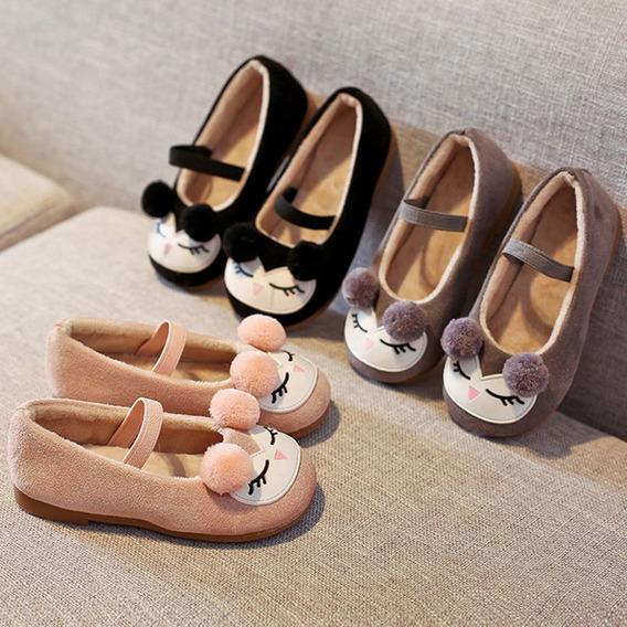 Sapato Pelúcia Pompom Gatinha Infantil