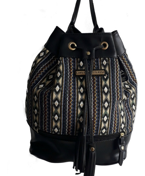 Bolsa Mochila Tecido Detalhe Em Couro Sintético Fashion