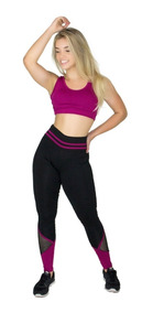 Calça Legging Fitness Furadinha Cós Alta Listra Lisa
