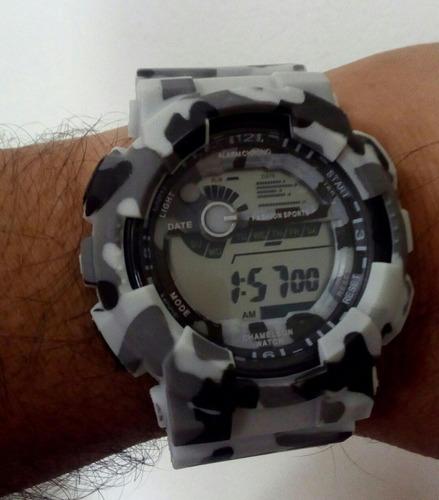 Relógio Camuflado Militar Russo Digital Led Alarme Cronôme