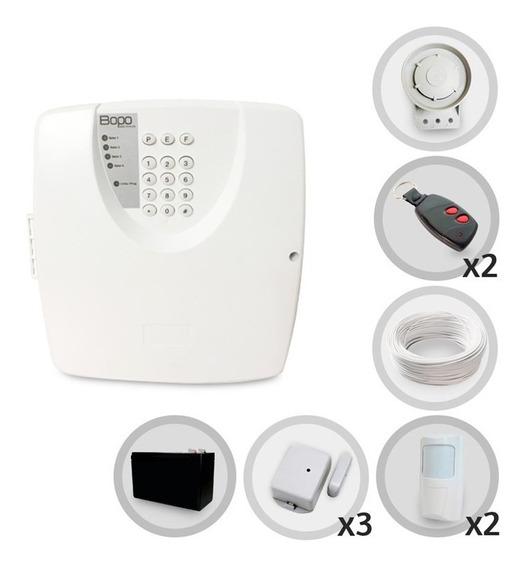 Kit Alarme Residencial 5 Sensores Sem Fio Discadora Bateria