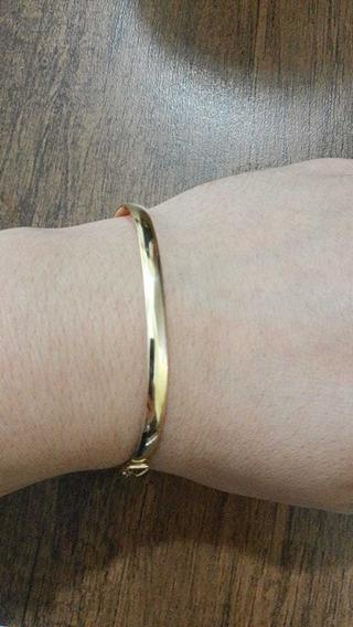Bracelete Algema Liso Ouro 18 K Pulseira Oval
