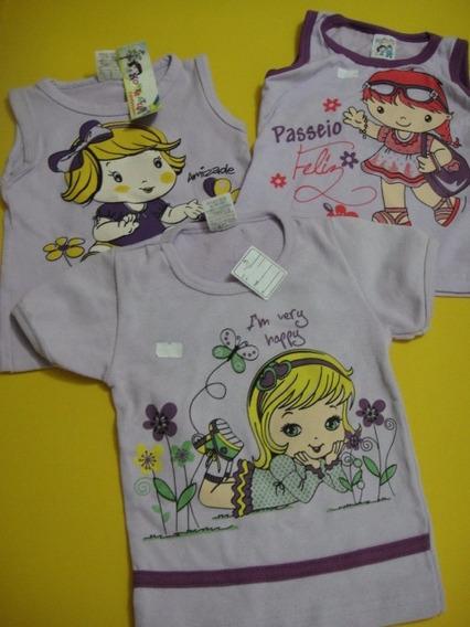 Lote 3 Pç Camiseta Infantil - Nova - Menina - Tam 2