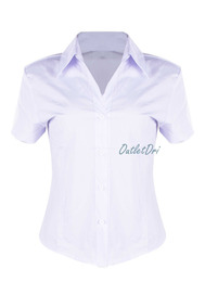 Camisete Camisa Feminino Social Branco Manga Curta Liso