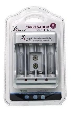 Carregador De Pilhas Aa/aaa/9v Bi-volt Auto Stop Led Kp511