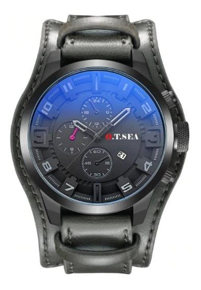 Relógio Barato Bracelete Em Couro Masculino Pulseira Larga