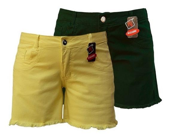 Short Jeans Feminino Color Plus Size Tamanhos 44 Ao 60