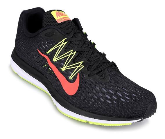 Zapatillas Nike Air Zoom Winflo - Negro Y Verde-fluo