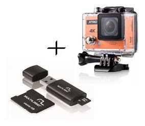 Kit Câmera De Ação Atrio 4k + Cartão 16gb Classe 10 Sd Wifi