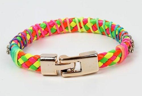 Pulseira Couro Colorida Strass Bracelete Fecho Dourado