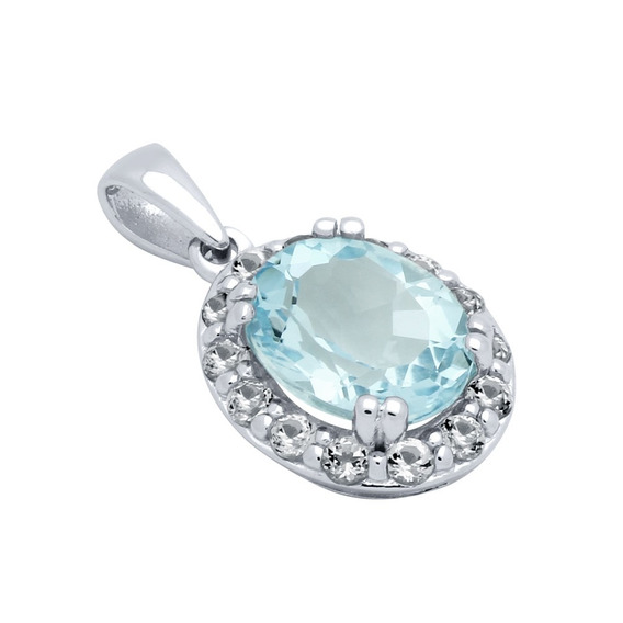 Oval-cut Genuine Sky Blue Topaz Pendant With Large White Top