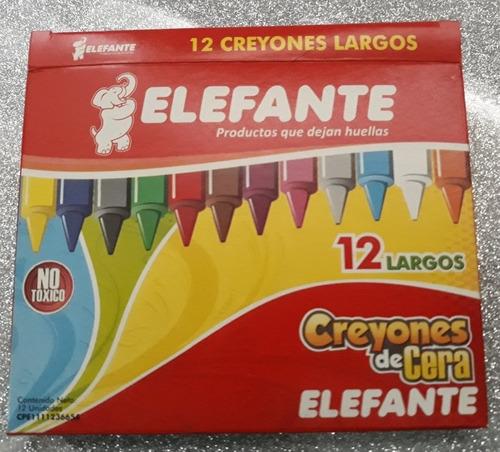 Caja 12 Creyones De Cera Largos Elefante Precio De 12 Cajas