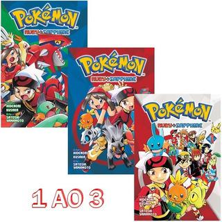 Pokémon Ruby & Sapphire 1 Ao 3 Mangá Panini! Novo E Lacrado!