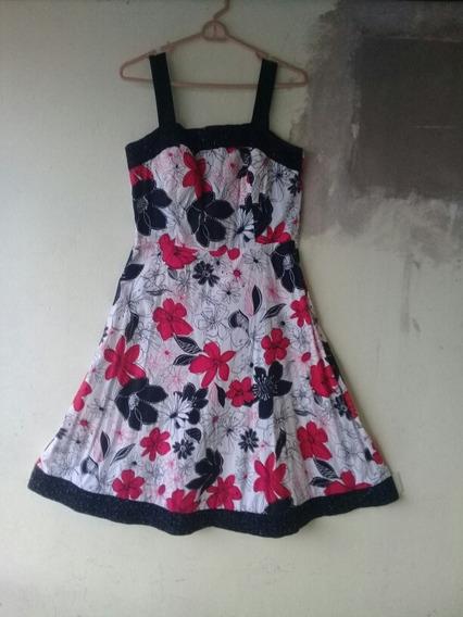 Vestido Madison Leigh Negro/ Rojo/ Bco Talla 10 G. Bordado