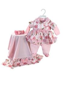 Kit Saída De Maternidade Rosa Floral Vestidinho Menina Bebê